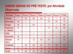 dados gerais do pr teste por atividade observada