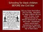 schooling for black children before the civil war