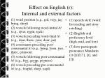 effect on english r internal and external factors