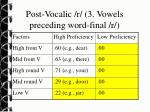 post vocalic r 3 vowels preceding word final r