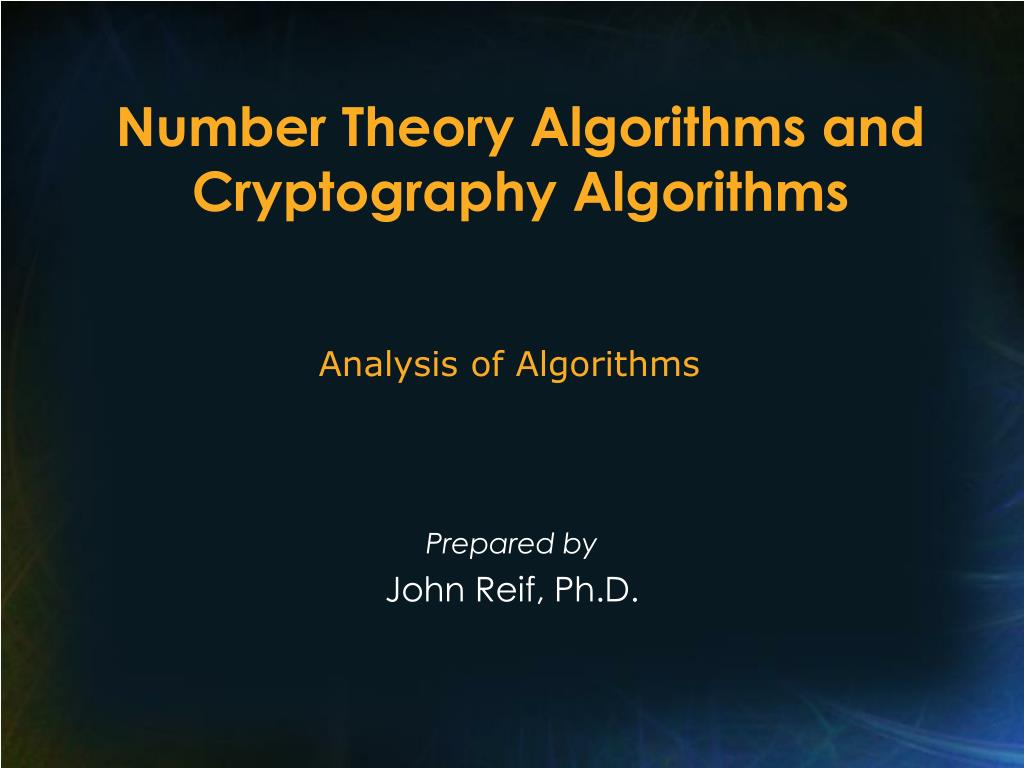 number theory algorithms and cryptography algorithms l.