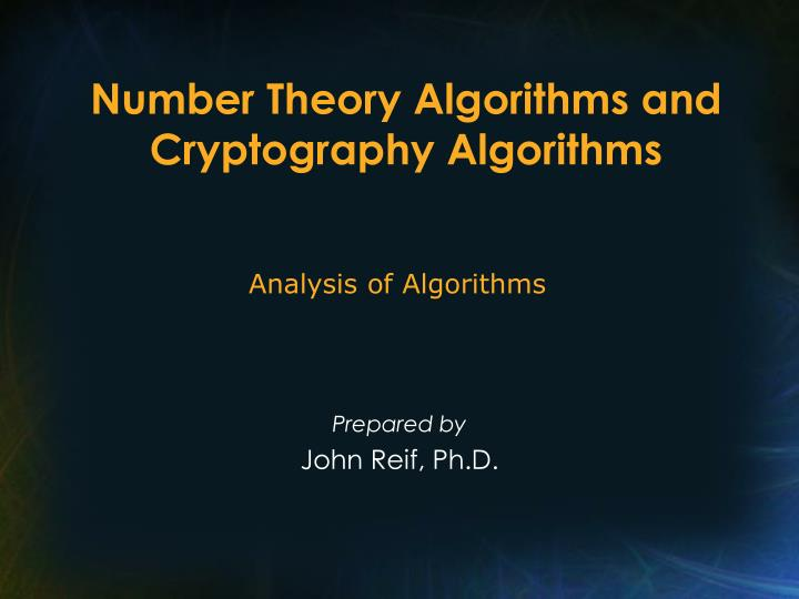 number theory algorithms and cryptography algorithms n.