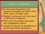 rsa vs knapsack