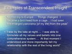 examples of transcendent insight