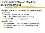 expert committee on obesity recommendations