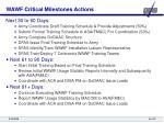 wawf critical milestones actions
