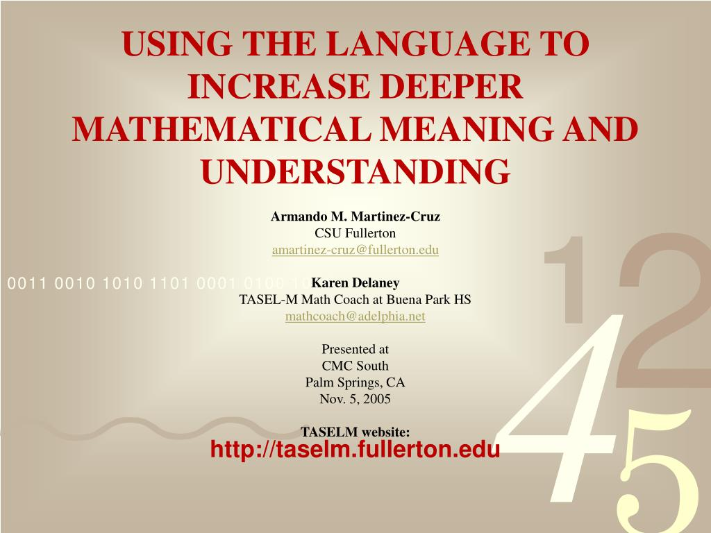 using the language to increase deeper mathematical meaning and understanding l.