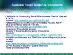 available recall guidance documents