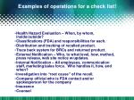 examples of operations for a check list