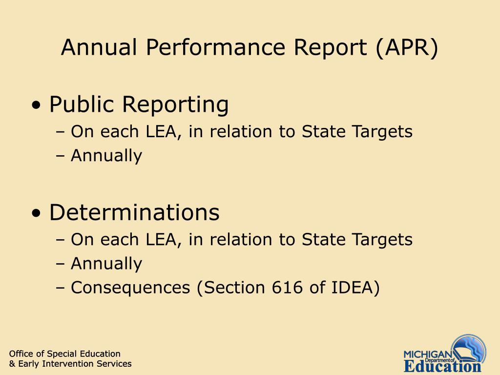 Annual Performance Report (APR)