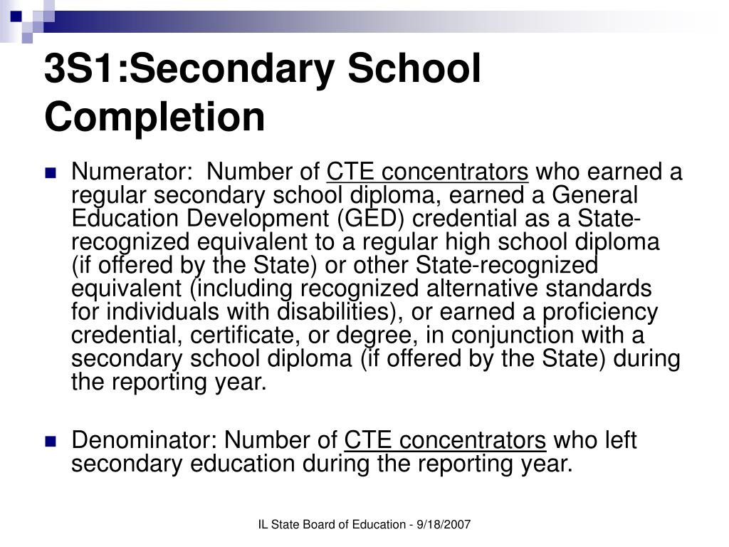3S1:Secondary School Completion