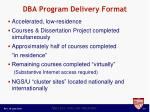 dba program delivery format
