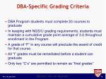 dba specific grading criteria