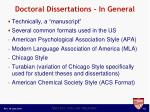 doctoral dissertations in general