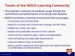 tenets of the ngs u learning community