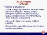 the dba degree continued