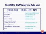 the ngs u staff is here to help you
