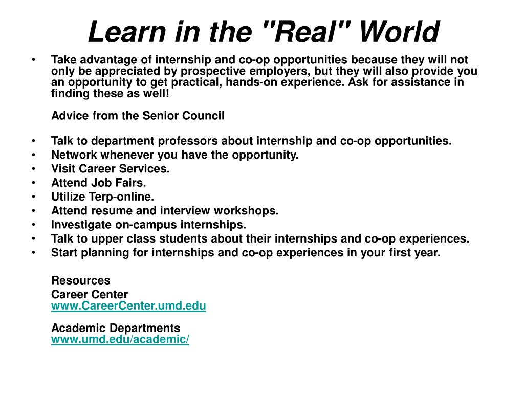 "Learn in the ""Real"" World"