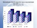 mortalidade infantil segundo ra a e escolaridade da m e brasil 1980 fonte pinto da cunha 1997