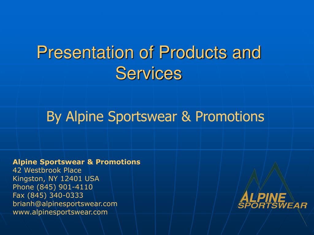 presentation of products and services l.