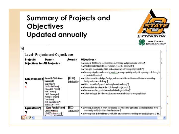 Summary Of Projects And Objectives Updated Annually