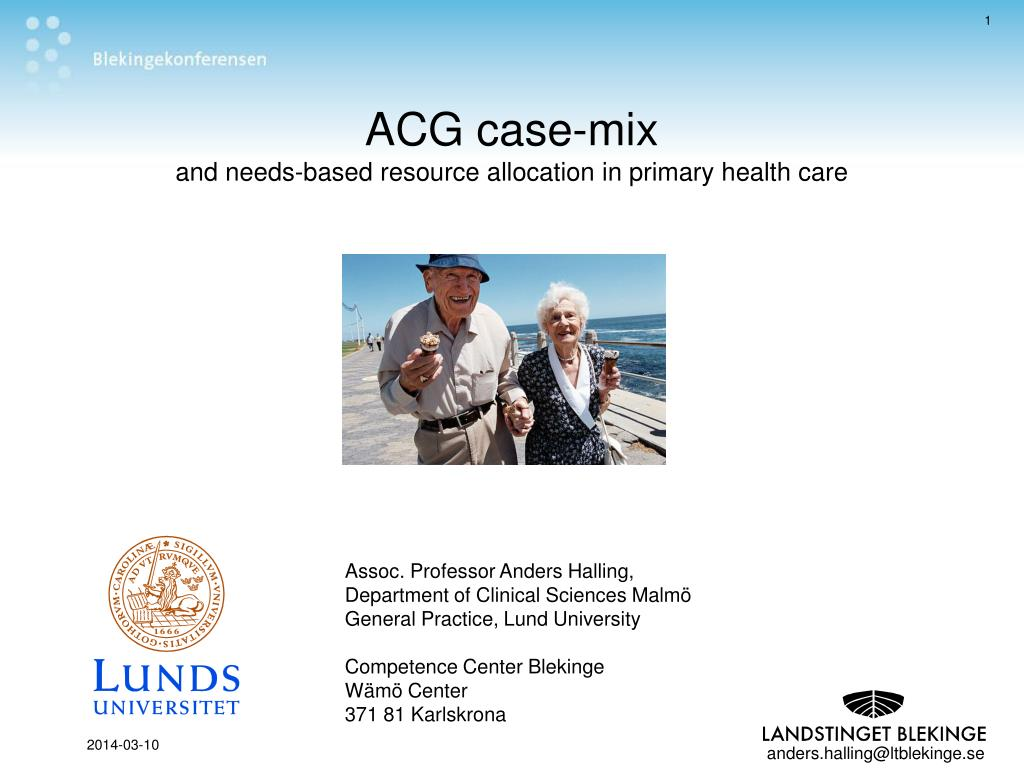 acg case mix and needs based resource allocation in primary health care l.