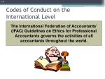 codes of conduct on the international level