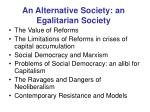 an alternative society an egalitarian society