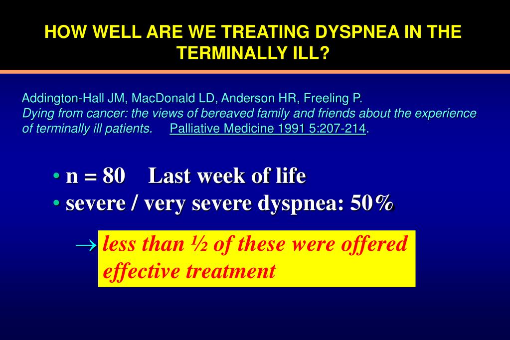 HOW WELL ARE WE TREATING DYSPNEA IN THE TERMINALLY ILL?