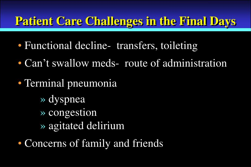 Patient Care Challenges in the Final Days