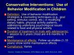 conservative interventions use of behavior modification in children