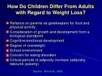 how do children differ from adults with regard to weight loss