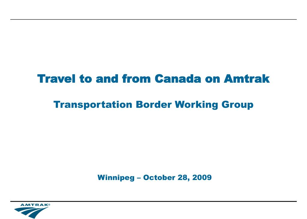 travel to and from canada on amtrak l.