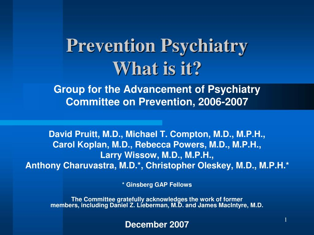 prevention psychiatry what is it l.