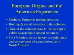 european origins and the american experience