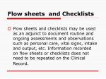 flow sheets and checklists