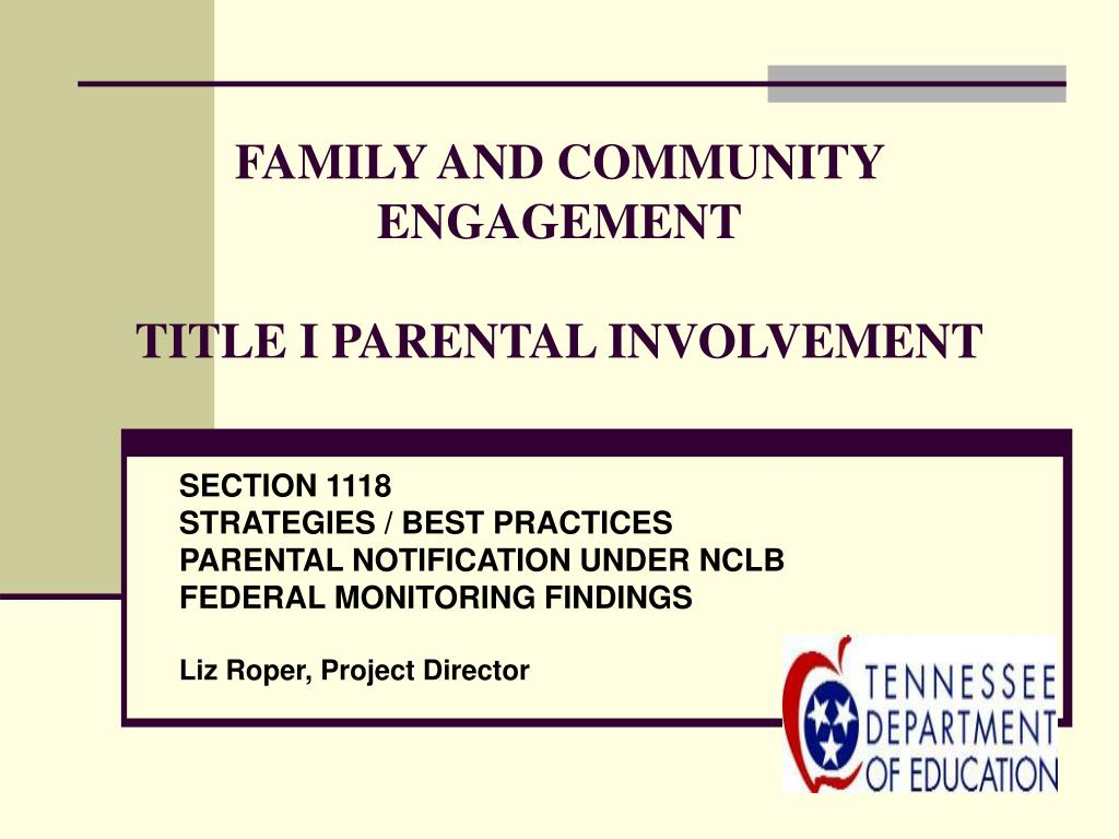 family and community engagement title i parental involvement l.