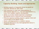 capacity building issues and approaches
