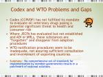 codex and wto problems and gaps