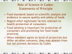 role of science in codex statements of principle