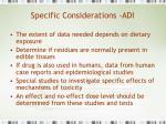specific considerations adi