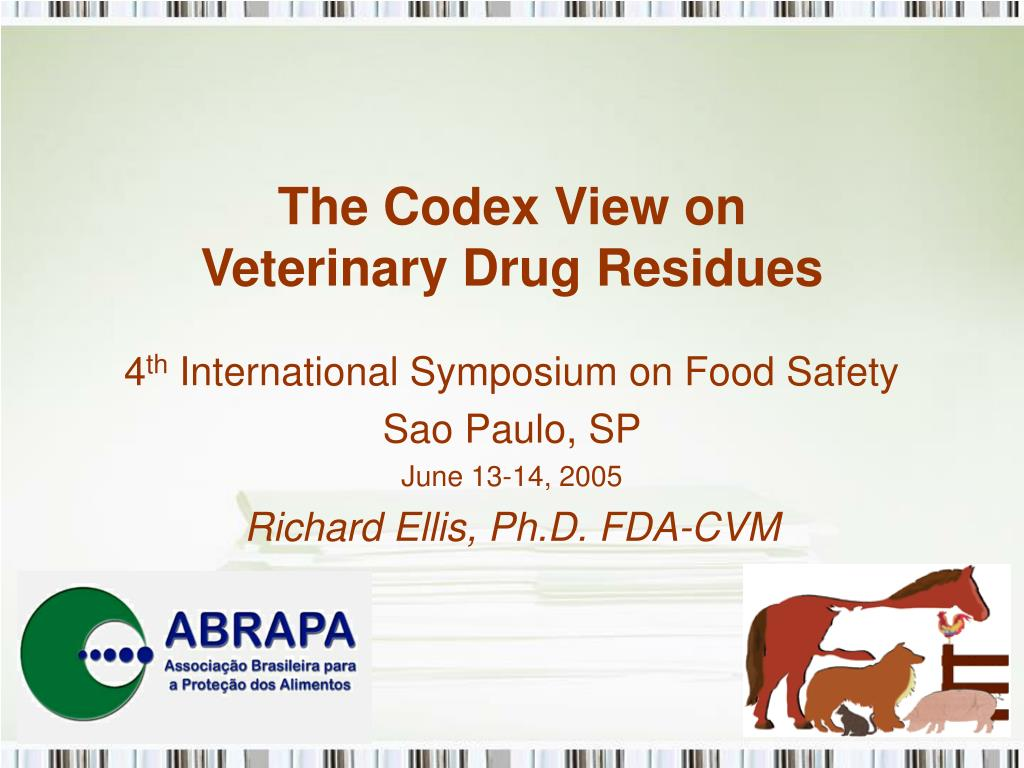 the codex view on veterinary drug residues l.
