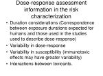 dose response assessment information in the risk characterization42