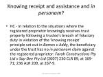 knowing receipt and assistance and in personam22