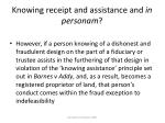 knowing receipt and assistance and in personam23