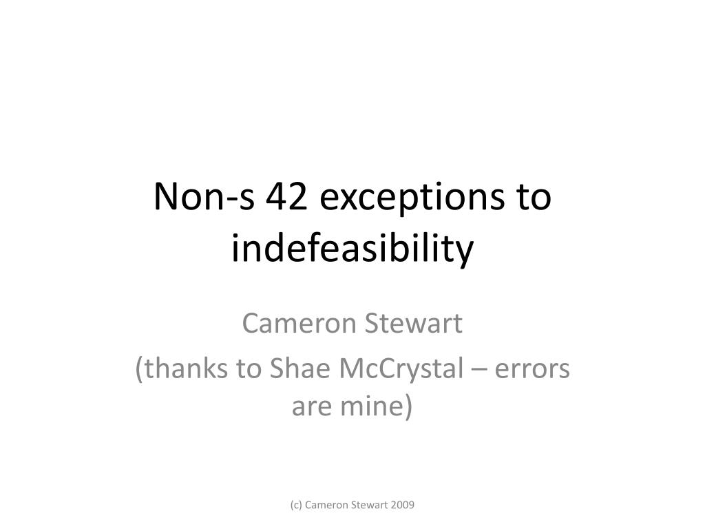 non s 42 exceptions to indefeasibility l.