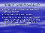 exemptions from exam