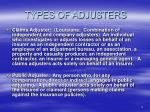 types of adjusters