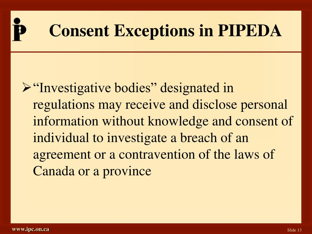 Consent Exceptions in PIPEDA