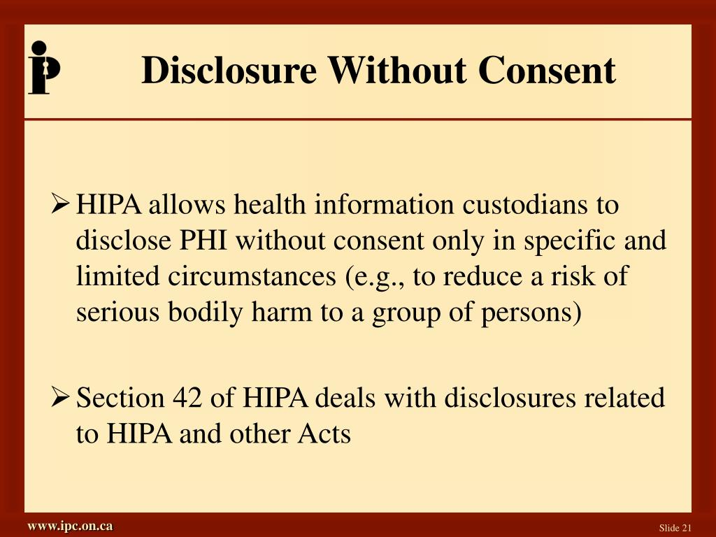 Disclosure Without Consent